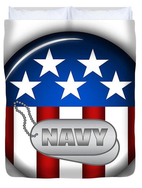 Cool Navy Insignia Duvet Cover by Pamela Johnson