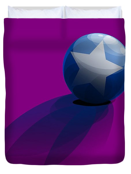 Duvet Cover featuring the digital art Blue Ball Decorated With Star Purple Background by R Muirhead Art
