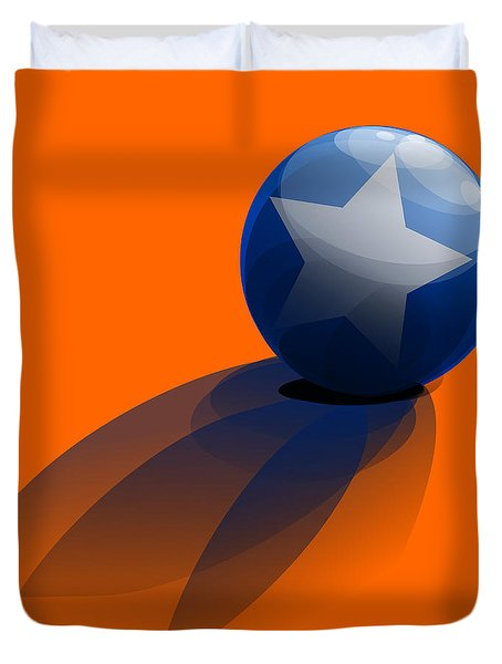 Duvet Cover featuring the digital art Blue Ball Decorated With Star Orange Background by R Muirhead Art
