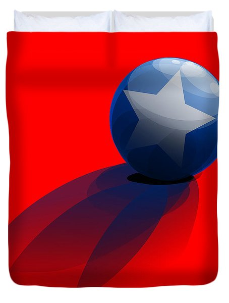 Duvet Cover featuring the digital art Blue Ball Decorated With Star Red Background by R Muirhead Art