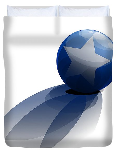 Duvet Cover featuring the digital art Blue Ball Decorated With Star Grass White Background by R Muirhead Art