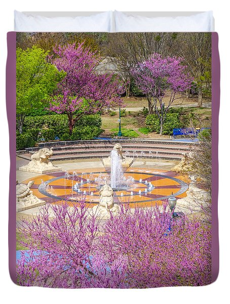 Coolidge Park Fountain In Spring Duvet Cover