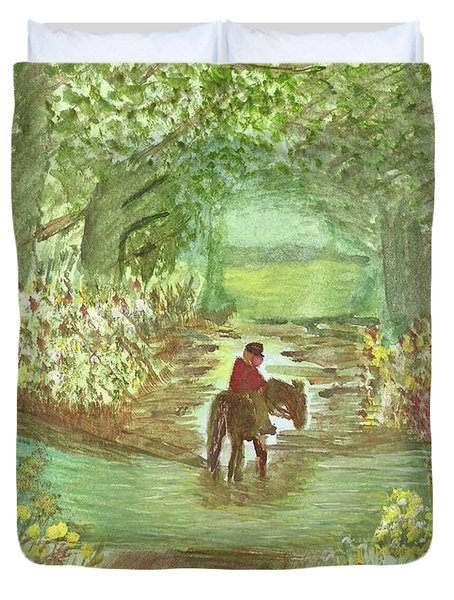 Duvet Cover featuring the painting Cooling Off by Tracey Williams