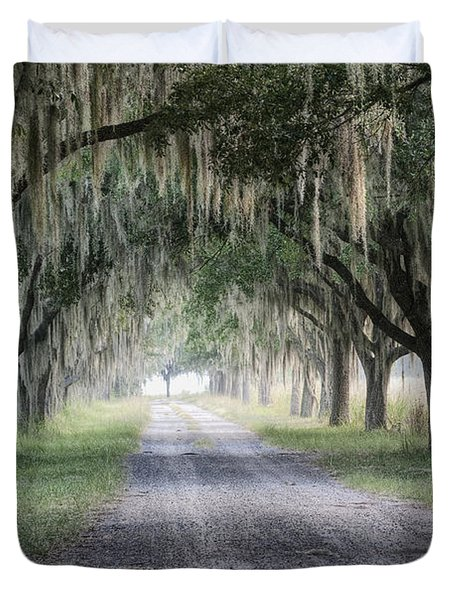 Coosaw Fog Avenue Of Oaks Duvet Cover
