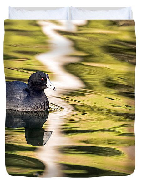 Duvet Cover featuring the photograph Coot Reflected by Kate Brown