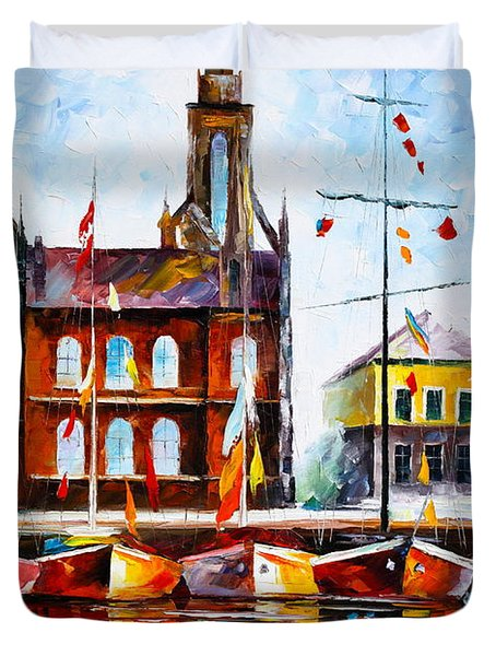 Copenhagen Denmark 3 Duvet Cover by Leonid Afremov