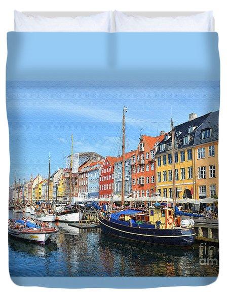 Copenhagen Denmark Nyhavn District Duvet Cover by Eva Kaufman