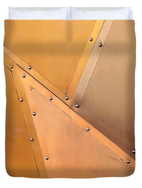 Duvet Cover featuring the photograph Copper Door by Art Block Collections