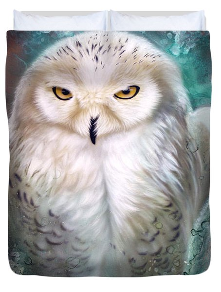 Copper Snowy Owl Duvet Cover