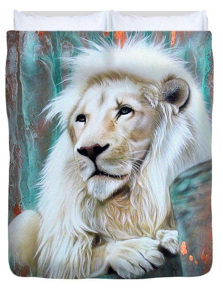 Copper White Lion Duvet Cover