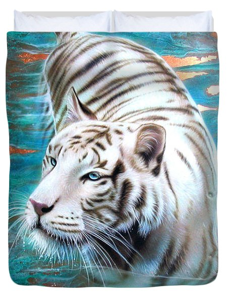 Copper White Tiger Duvet Cover