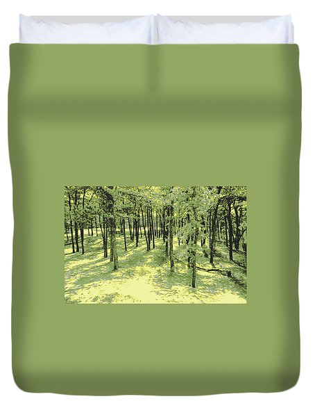 Duvet Cover featuring the photograph Copse Of Trees Sunlight by Tom Wurl