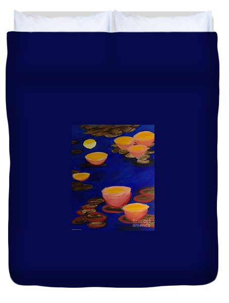Duvet Cover featuring the painting Coral Lily Pond by Anita Lewis