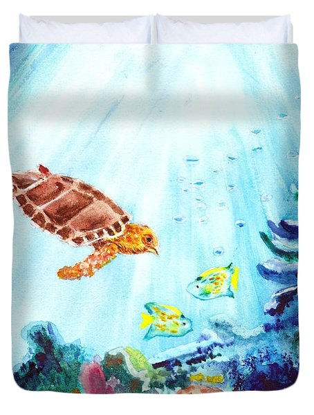 Duvet Cover featuring the painting Coral Reef by Donna Walsh
