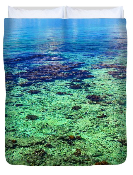 Coral Reef Near The Island At Peaceful Day. Maldives Duvet Cover