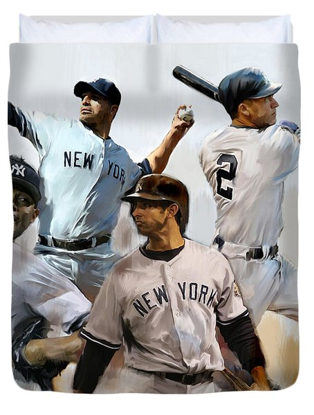 Core  Derek Jeter Mariano Rivera  Andy Pettitte Jorge Posada Duvet Cover by Iconic Images Art Gallery David Pucciarelli
