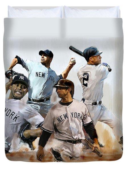 Core  Derek Jeter Mariano Rivera  Andy Pettitte Jorge Posada Duvet Cover by Iconic Images Art Gallery David Pucciarelli