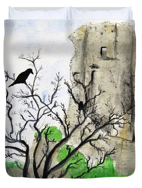 Corfe Castle And Crow Duvet Cover