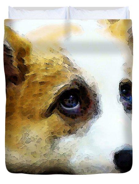 Corgi Art - That Look Duvet Cover by Sharon Cummings