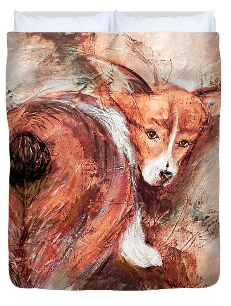Duvet Cover featuring the painting Corgi Butt by Patricia Lintner