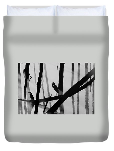 Cormorant And The Heron  Bw Duvet Cover by Roger Becker