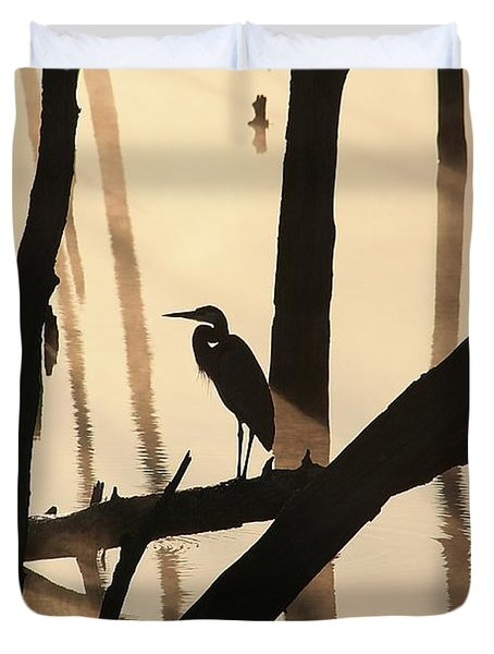 Cormorant And The Heron Duvet Cover by Roger Becker