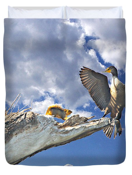 Cormorant Close Encounter With Tree Squirrel 1 Duvet Cover by Roy Williams