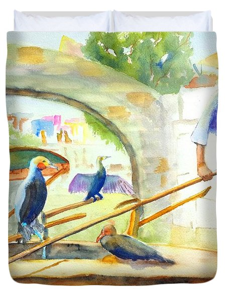 Cormorant Fishing - China Duvet Cover