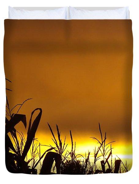 Corn At Sunset Duvet Cover