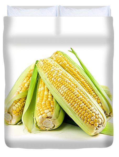 Corn Ears On White Background Duvet Cover