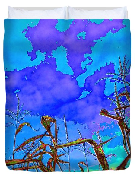 Duvet Cover featuring the digital art Corn Field And Sky 2  by Lyle Crump