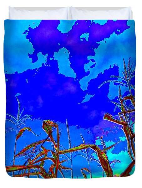 Duvet Cover featuring the digital art Corn Field And Sky 3 by Lyle Crump