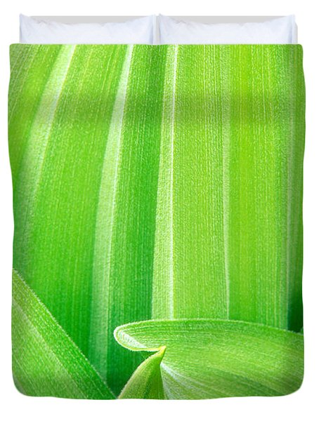 Duvet Cover featuring the photograph Corn Lily Leaf Detail Yosemite Np California by Dave Welling