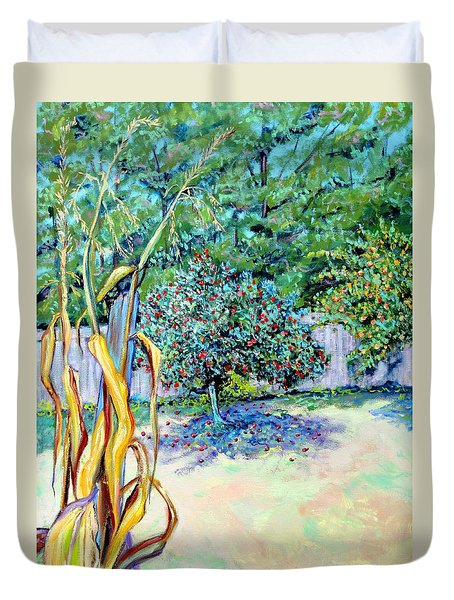 Duvet Cover featuring the painting Corn Stalk And Apple Tree  Autumn Lovers by Asha Carolyn Young
