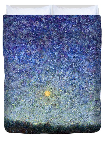 Duvet Cover featuring the painting Cornbread Moon by James W Johnson