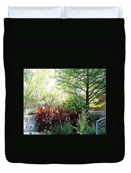 Duvet Cover featuring the digital art Corner Garden by Deleas Kilgore