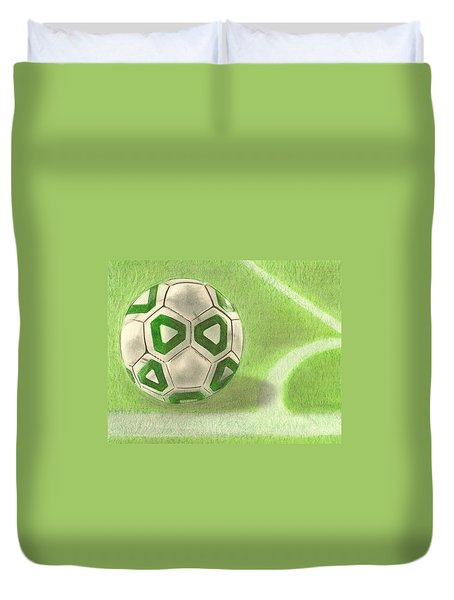 Duvet Cover featuring the drawing Corner Kick by Troy Levesque
