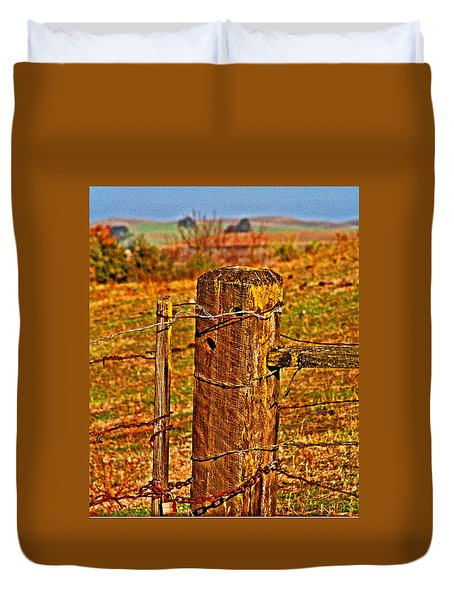 Corner Post At Gate Duvet Cover