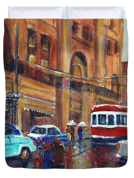 Corner St.catherine And Union Streets-fifties Montreal-vintage Street Scene Duvet Cover by Carole Spandau