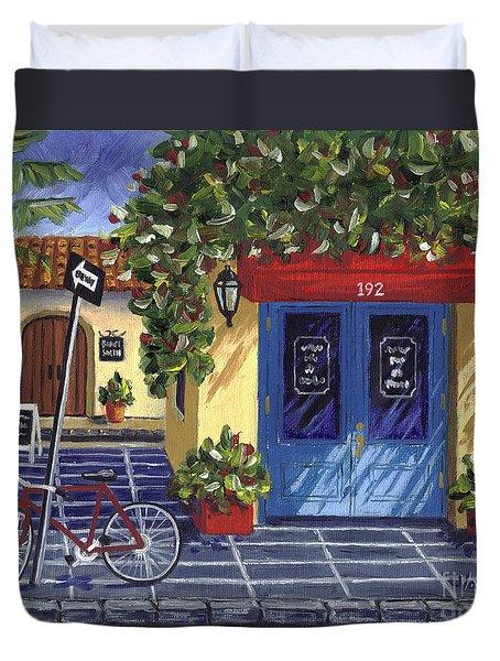 Corner Store Duvet Cover by Val Miller