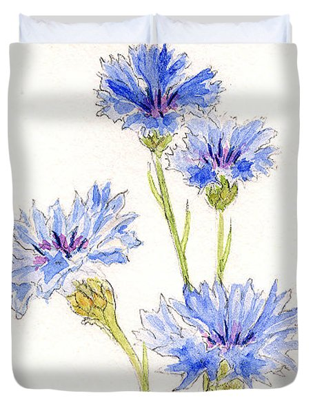 Duvet Cover featuring the painting Cornflowers by Stephanie Grant