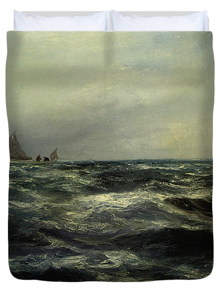 Cornish Sea And Working Boat Duvet Cover by Charles William Hemy