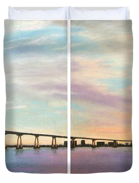 Coronado Bridge Sunset Diptych Duvet Cover