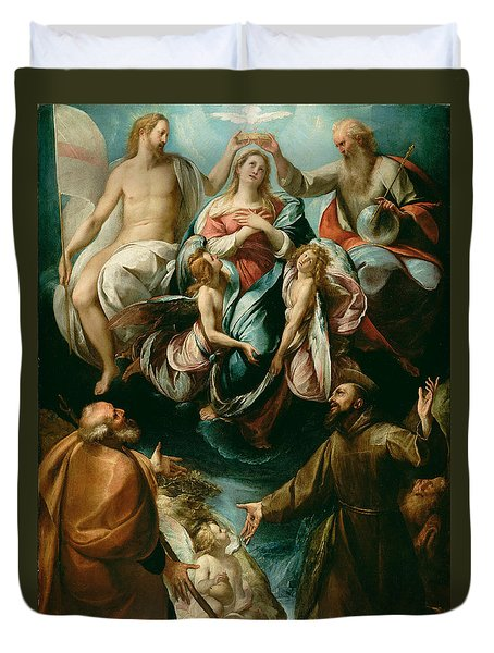 Coronation Of The Virgin With Saints Joseph And Francis Of Assisi Duvet Cover