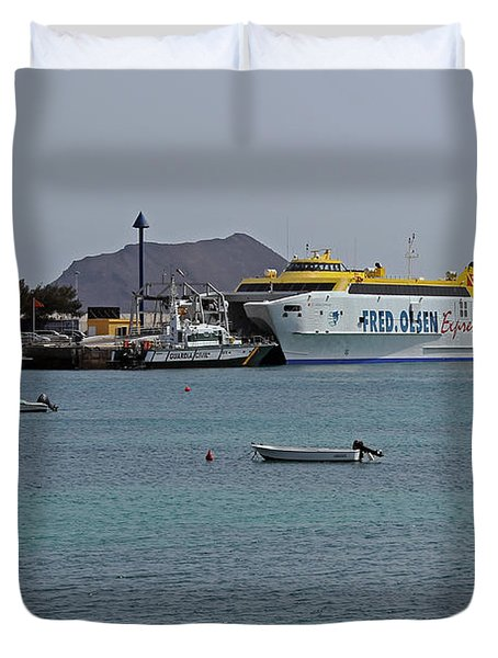Corralejo Harbour Duvet Cover