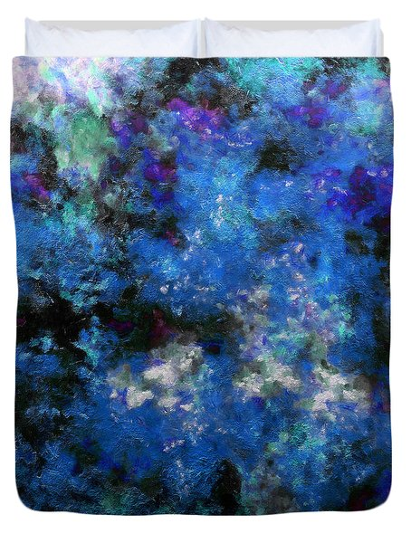 Corrosion Bleue Duvet Cover by RochVanh