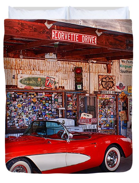 Corvette Drive Rt 66 Duvet Cover by Fred Larson