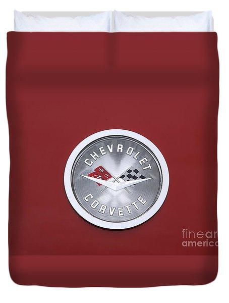 Corvette Emblem Duvet Cover by Neil Zimmerman