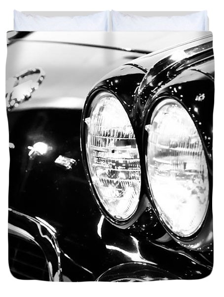 Corvette Picture - Black And White C1 First Generation Duvet Cover by Paul Velgos