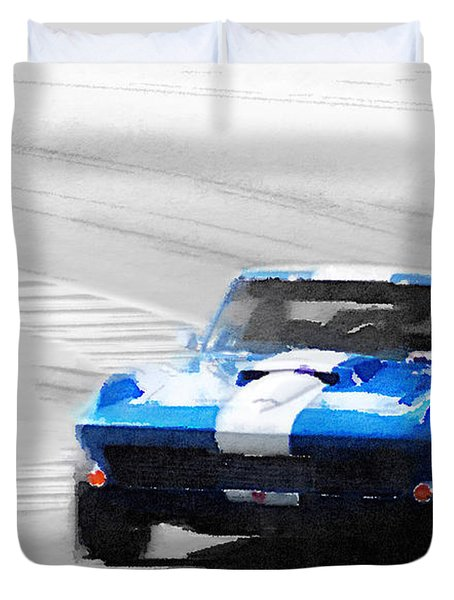 Corvette Stingray Laguna Seca Watercolor Duvet Cover